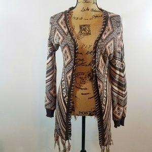 BKE Cotton Knit Open Sweater w Fringe